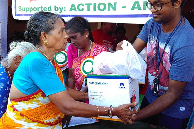 Relief material being distributed to flood affected