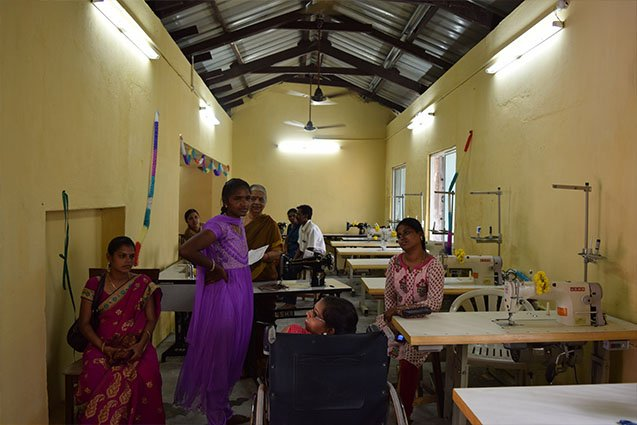 Training center for enhancing livelihoods of flood affected women, set up with Society For Rights of All Women with Disabilities