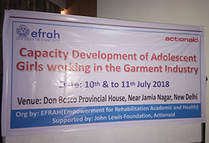 Capacity Development of Adolescent Girls working in the Garment Industry